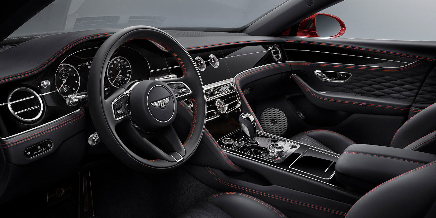 new-Bentley-Flying-Spur-V8-front-interior-in-Beluga-black-quilted-leather